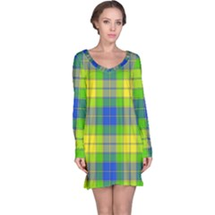 Spring Plaid Yellow Blue And Green Long Sleeve Nightdress