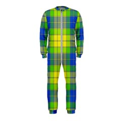 Spring Plaid Yellow Blue And Green Onepiece Jumpsuit (kids) by BangZart
