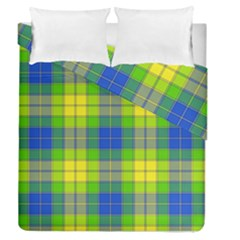 Spring Plaid Yellow Blue And Green Duvet Cover Double Side (queen Size)