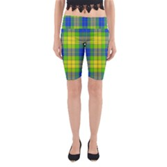 Spring Plaid Yellow Blue And Green Yoga Cropped Leggings