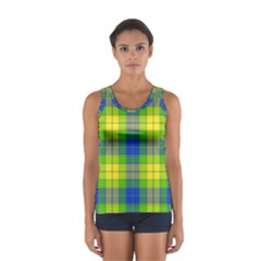 Spring Plaid Yellow Blue And Green Sport Tank Top