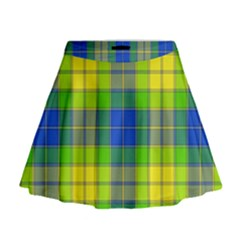 Spring Plaid Yellow Blue And Green Mini Flare Skirt