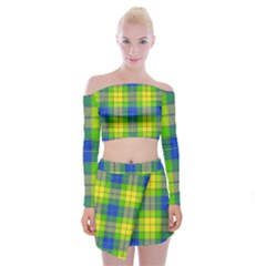 Spring Plaid Yellow Blue And Green Off Shoulder Top With Mini Skirt Set