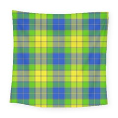 Spring Plaid Yellow Blue And Green Square Tapestry (large)