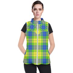 Spring Plaid Yellow Blue And Green Women s Puffer Vest