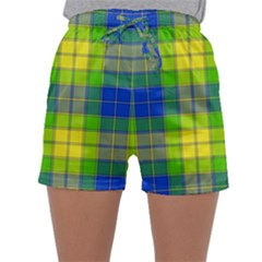 Spring Plaid Yellow Blue And Green Sleepwear Shorts
