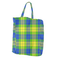 Spring Plaid Yellow Blue And Green Giant Grocery Zipper Tote