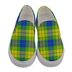 Spring Plaid Yellow Blue And Green Women s Canvas Slip Ons