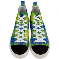 Spring Plaid Yellow Blue And Green Men s Mid Top Canvas Sneakers