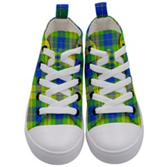 Spring Plaid Yellow Blue And Green Kid s Mid Top Canvas Sneakers