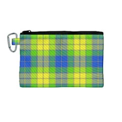 Spring Plaid Yellow Blue And Green Canvas Cosmetic Bag (medium)