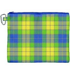 Spring Plaid Yellow Blue And Green Canvas Cosmetic Bag (xxxl)