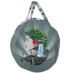 Digital Nature Beauty Giant Round Zipper Tote