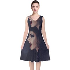 Vampire Woman Vampire Lady V Neck Midi Sleeveless Dress