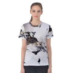 Birds Crows Black Ravens Wing Women s Cotton Tee
