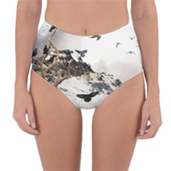 Birds Crows Black Ravens Wing Reversible High Waist Bikini Bottoms