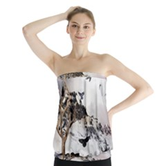Birds Crows Black Ravens Wing Strapless Top