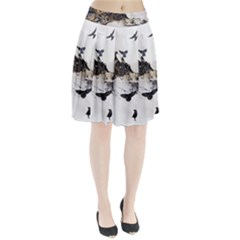 Birds Crows Black Ravens Wing Pleated Skirt