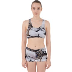 Birds Crows Black Ravens Wing Work It Out Sports Bra Set