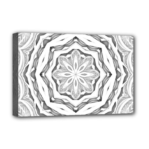 Mandala Pattern Floral Deluxe Canvas 18  X 12