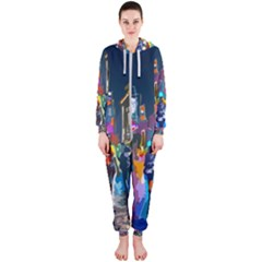 Abstract Vibrant Colour Cityscape Hooded Jumpsuit (ladies)