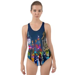 Abstract Vibrant Colour Cityscape Cut Out Back One Piece Swimsuit