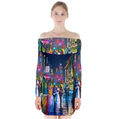 Abstract Vibrant Colour Cityscape Long Sleeve Off Shoulder Dress