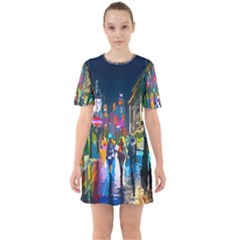 Abstract Vibrant Colour Cityscape Sixties Short Sleeve Mini Dress