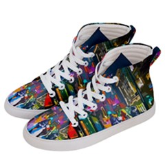 Abstract Vibrant Colour Cityscape Men s Hi-top Skate Sneakers by BangZart