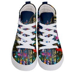 Abstract Vibrant Colour Cityscape Kid s Hi-top Skate Sneakers
