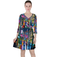 Abstract Vibrant Colour Cityscape Ruffle Dress
