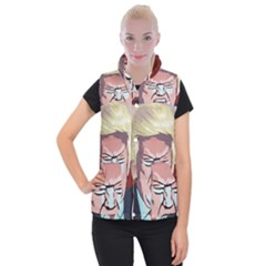 Donald Trump Pop Art President Usa Women s Button Up Puffer Vest