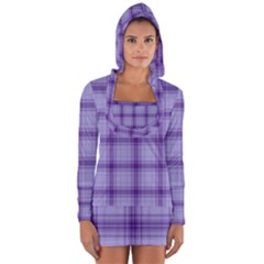 Purple Plaid Original Traditional Long Sleeve Hooded T Shirt