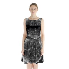 Space Universe Earth Rocket Sleeveless Waist Tie Chiffon Dress