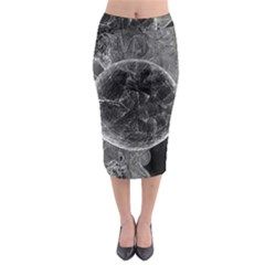 Space Universe Earth Rocket Midi Pencil Skirt