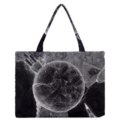 Space Universe Earth Rocket Zipper Medium Tote Bag by BangZart
