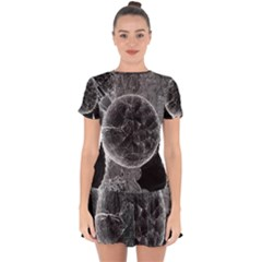 Space Universe Earth Rocket Drop Hem Mini Chiffon Dress by BangZart