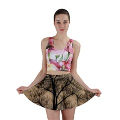 Tree Bushes Black Nature Landscape Mini Skirt