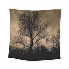 Tree Bushes Black Nature Landscape Square Tapestry (small)