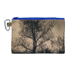 Tree Bushes Black Nature Landscape Canvas Cosmetic Bag (large)