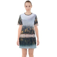 Trees Plants Nature Forests Lake Sixties Short Sleeve Mini Dress
