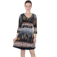 Trees Plants Nature Forests Lake Ruffle Dress