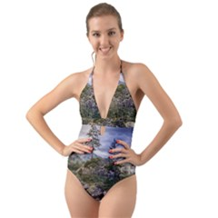 Hintersee Ramsau Berchtesgaden Halter Cut Out One Piece Swimsuit