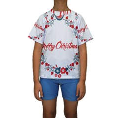 Merry Christmas Christmas Greeting Kids  Short Sleeve Swimwear by BangZart