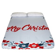 Merry Christmas Christmas Greeting Fitted Sheet (queen Size)