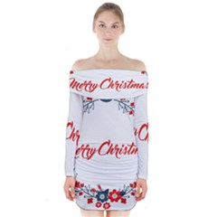 Merry Christmas Christmas Greeting Long Sleeve Off Shoulder Dress by BangZart