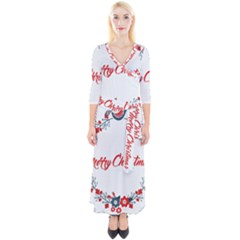 Merry Christmas Christmas Greeting Quarter Sleeve Wrap Maxi Dress by BangZart