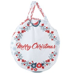 Merry Christmas Christmas Greeting Giant Round Zipper Tote