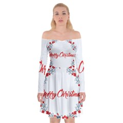 Merry Christmas Christmas Greeting Off Shoulder Skater Dress by BangZart