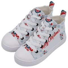 Merry Christmas Christmas Greeting Kid s Mid Top Canvas Sneakers by BangZart